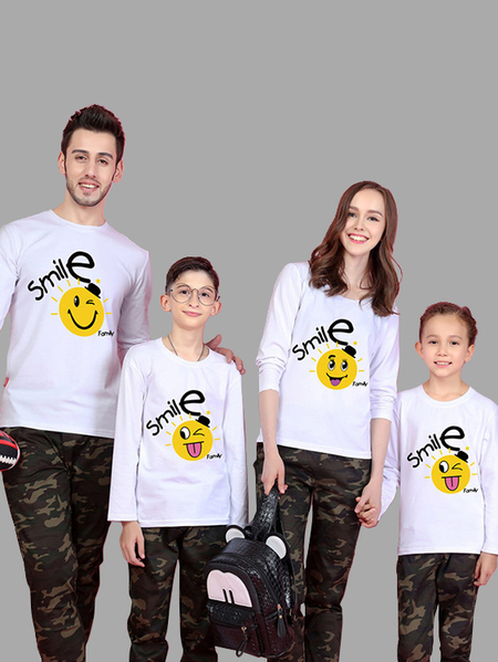 Family Look Round Neck Letter Pattern Matching Tops in White