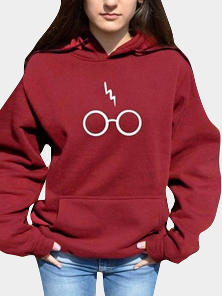 Burgundy Hooded Design Letter Sweatshirt