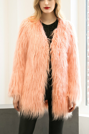 Peach Pink Fashion Long Sleeves Artificial Fur Longline Coat