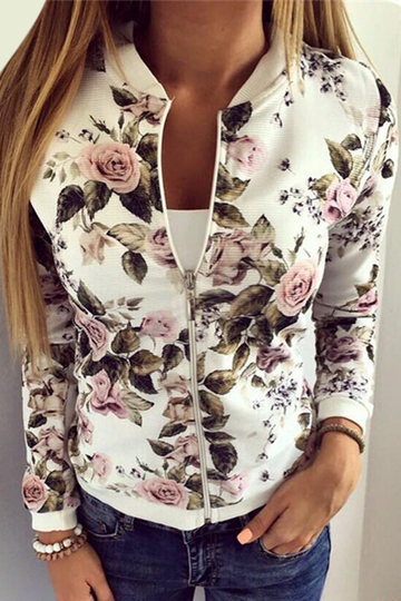 Fashion Baseball Collar Jacket In Random Floral Print