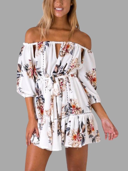 Blanc Impression Floral Aléatoire Off The Shoulder 3/4 Length Sleeves Mini Dress