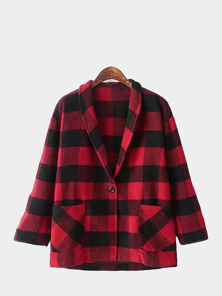 Red Check Coat with Single Breast