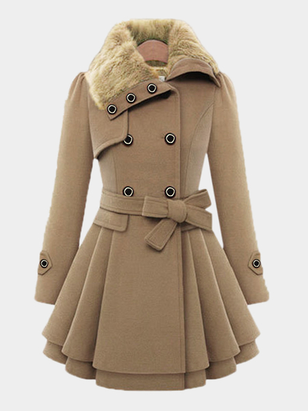 Camel Thicker Double Breasted Tweed Coat with Belt