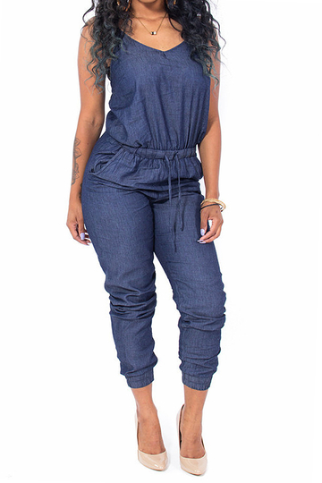 Navy Cami Jumpsuit with Drawstring Waist
