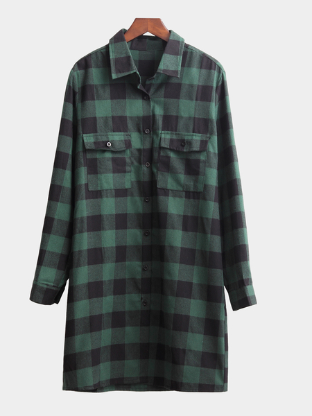 Green Classic Collar Button Front Grid Pattern Shirt