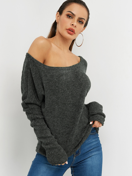 Dark Grey Plain Asymmetrical One Shoulder Design Long Sleeves Sweaters