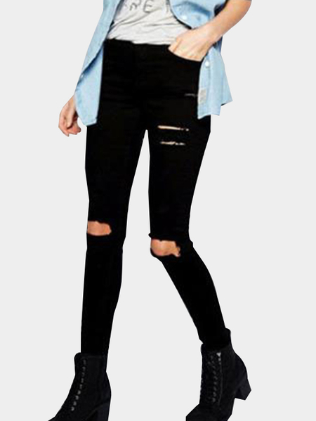 Black High-rise Knee Ripped Bodycon Jeans