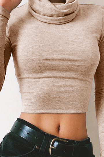 Khaki Turtleneck Long Sleeve Top