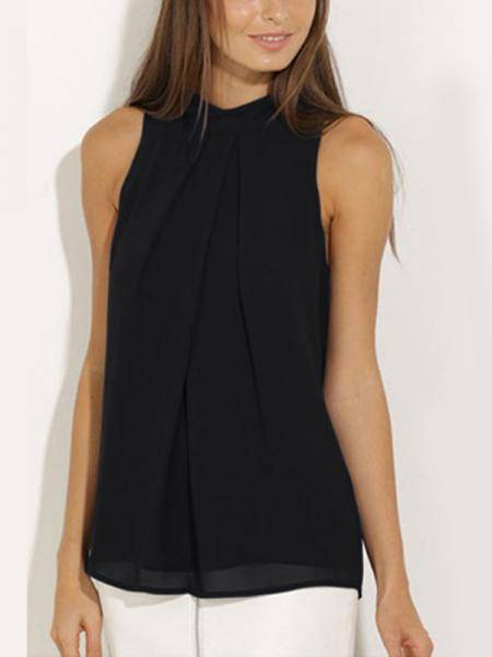 Black High Neck Open Back Pleated Chiffon Vest