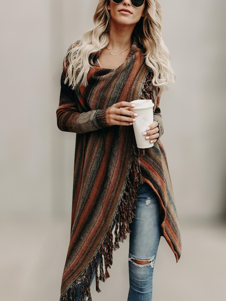 Orange Stripe Pattern Tassel Details Long Sleeves Sweater Outerwear