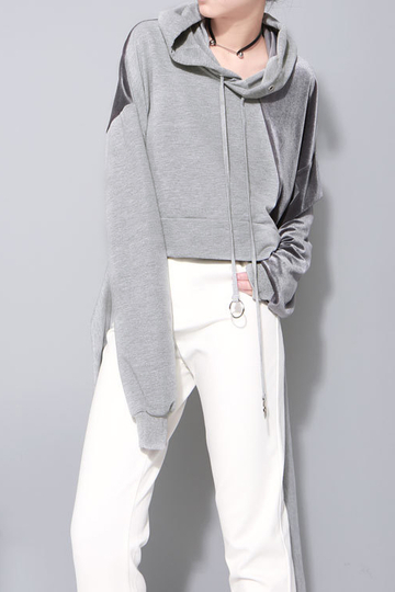 Fashion Gray Splicing design Reversible Hoodie