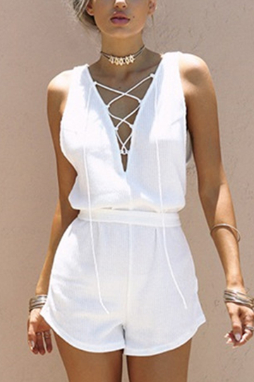 White V-neck Lace-up Self-tie Design Playsuit