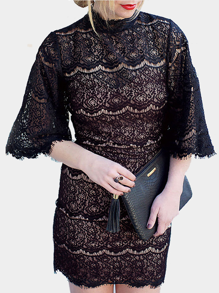 Buy Bell Sleeves Lace Mini Dress