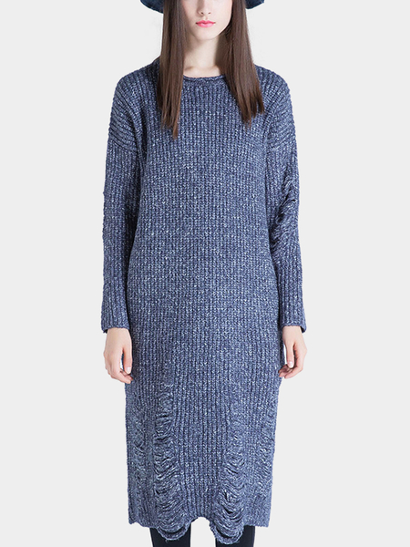 Blue Knitted MIdi Dress with Shredded Rips