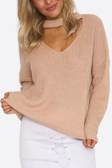 Khaki Fashion V-neck Drop Shoulder Jumper