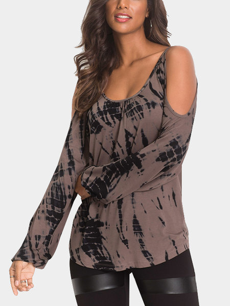 Brown Contrast Printed Cold Shoulder Long Sleeves Curved Hem Casual T-shirt