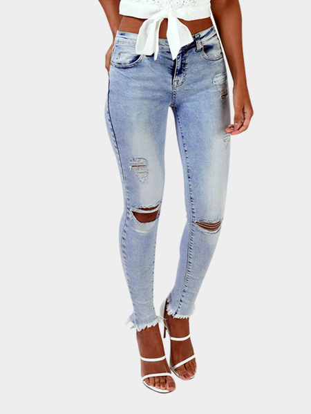 Light Blue Ripped Skinny Jeans com Classic Four Pockets