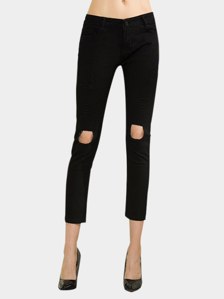 Black Middle-waist Ripped Details Jeans