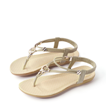 Soft Beige Metallic Buckle Flat Sandals