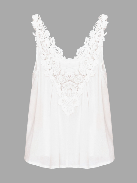 Semi Sheer V-neck Vest with Crochet Lace Detail