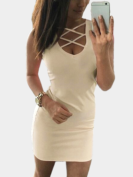 Beige Lace-up Design Sleeveless Sexy Dress