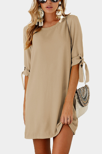 Khaki Self-tie at Sleeves Mini Dress