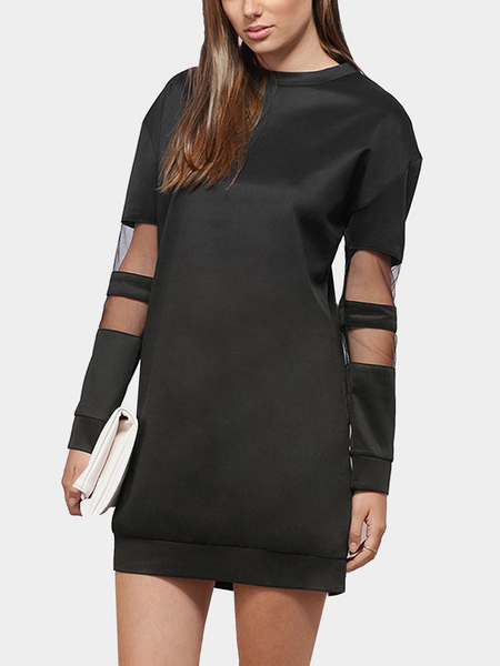 Mesh Insert Long Sleeve Sweatshirt Dress in Black