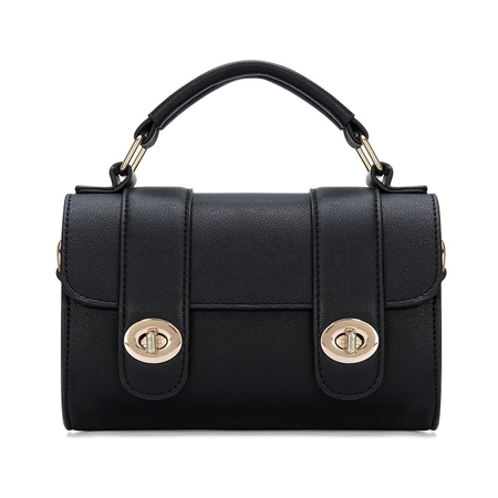 Micro Couro-olhar Top Handle Bag in Black