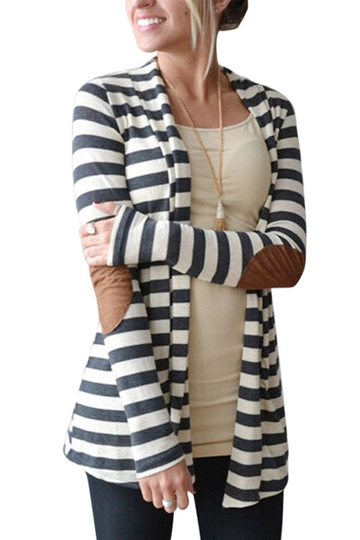 Stripe Cardigan with Patch on the Elbow