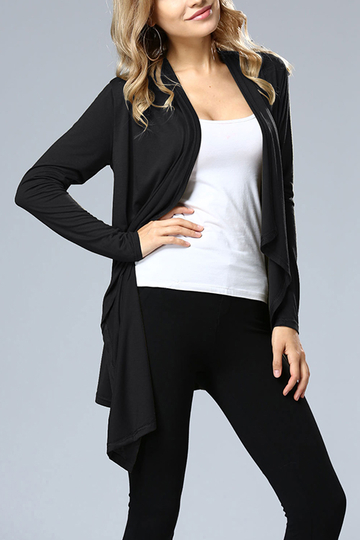 Black Irregular Hem Long Sleeves Cardigan