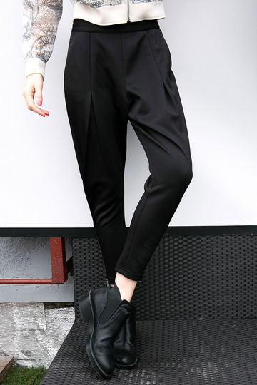 Stretch Waistband Tapered Trousers with Zipper Details