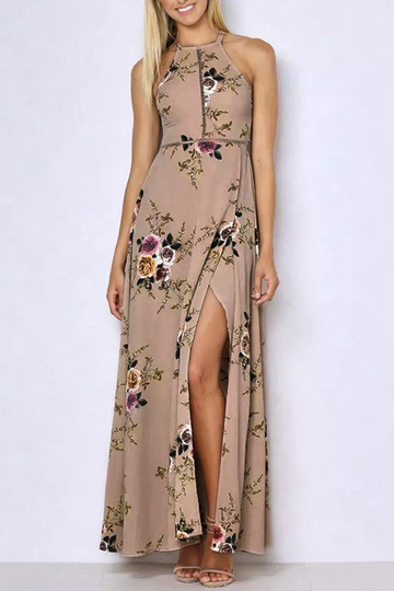 Halter Neck Open Back Random Floral Print Maxi Dress in Khaki