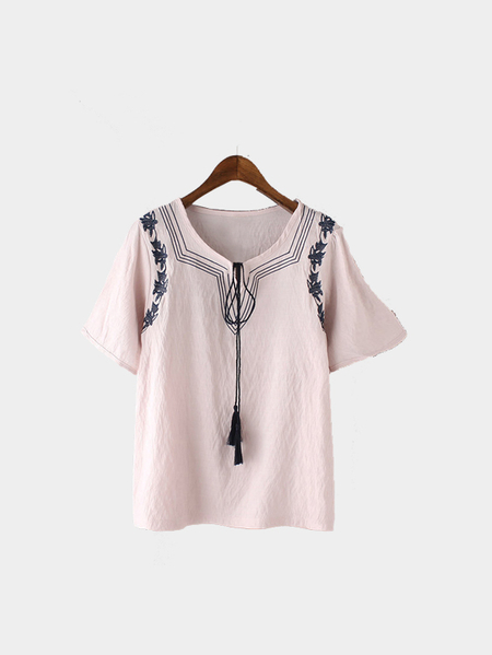 Pink Shorts Sleeves Shirt with Embroidery Pattern