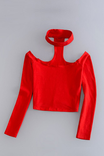 Red T-back Reversible Halter Long Sleeve Top