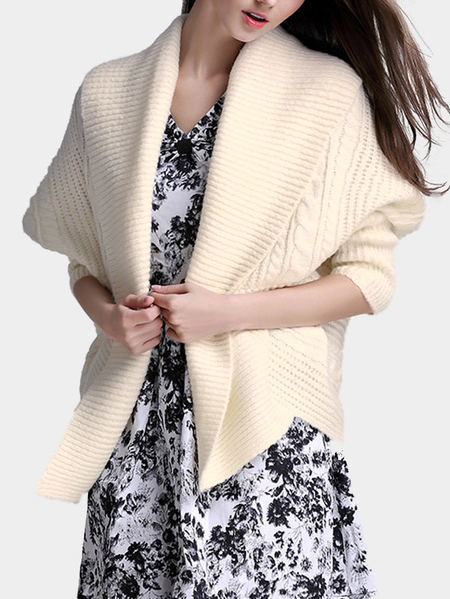 Fashion Cream Cor Mangas Longas Open Front Cardigan