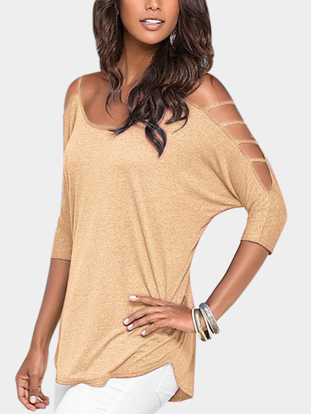 Yellow Cold Shoulder 3/4 Length Sleeve T-shirt com Strappy Detail