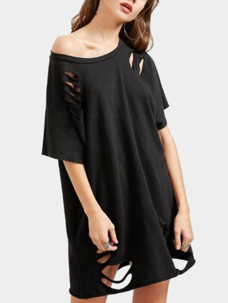 Cutout Hollow Design Tee Dress in Black
