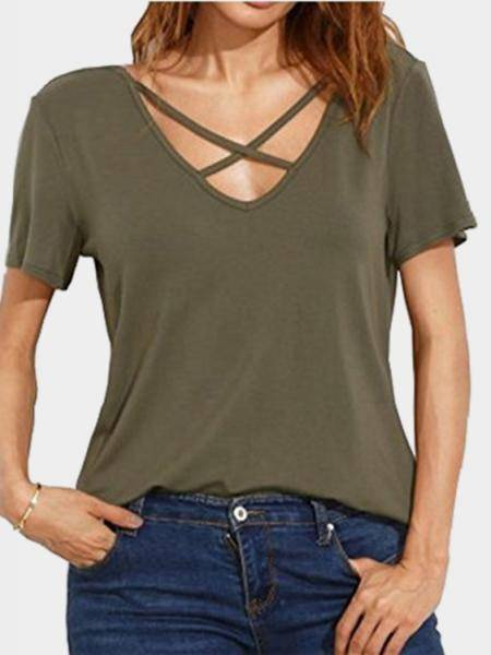 Army Green Cross Straps Front & Back Deep V-neck T-shirts