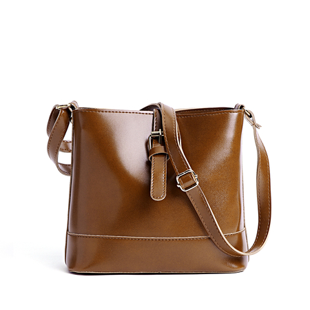 Brown Plain Design Buckle Crossbody Bag