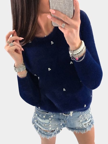 Dark Blue Beading Embellished Long Sleeves Sweaters