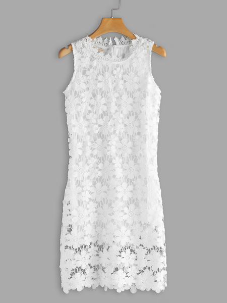 White Lace Details Round Neck Sleeveless Mini Dress