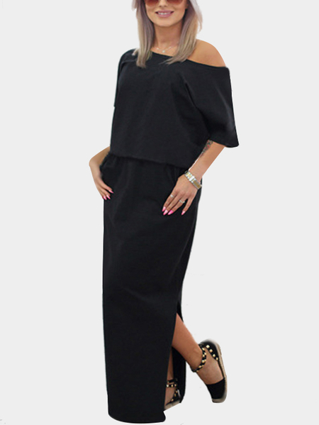 Black Short Sleeves One Shoulder Split Loose Dress with Side Pockets