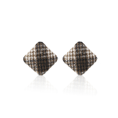 Coffee Diamond Shaped Button Stud Earrings