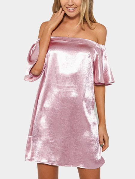 Satin Off-The-Shoulder Rufled Sleeves Mini Dress in Pink