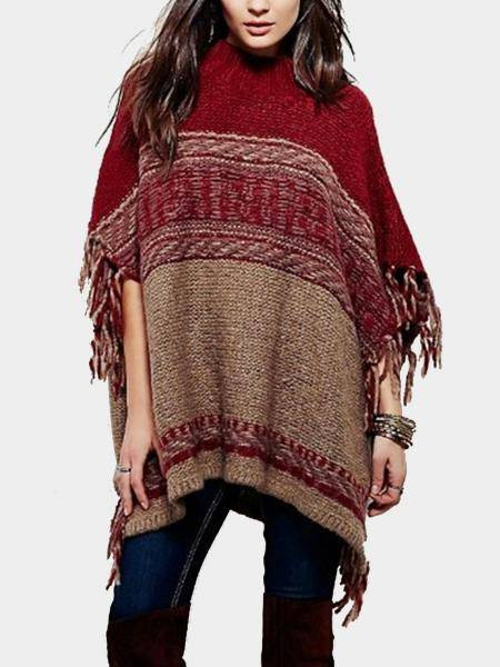 Cape Sweater with Tassel Details