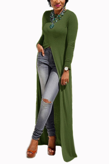 Army Green Round Neck Long Sleeve Slit Hem Maxi Dress