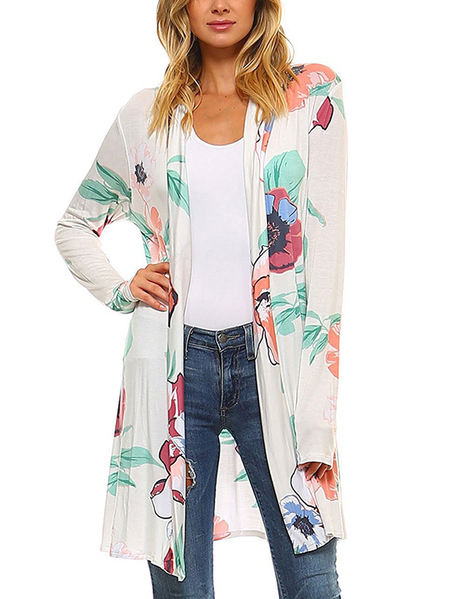 Green Random Floral Print Long Sleeves Cardigan