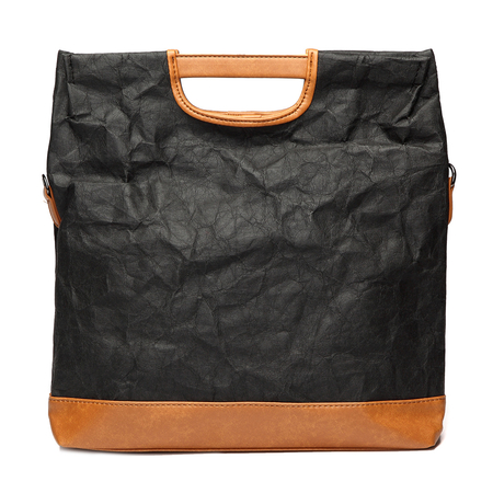 Black Patchwork Design Bolsa de papel Kraft dobrada