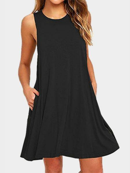 Black Round Neck Side Pockets Mini Dress