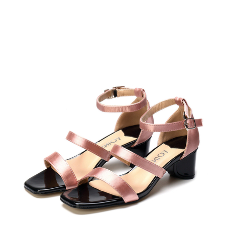 Rose Gold Satin Chunke Heel Sandals